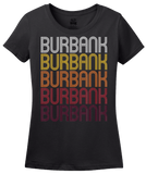 Ladies Black Burbank, CA | Retro, Vintage Style California Pride  T-shirt