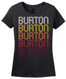 Ladies Black Burton, MI | Retro, Vintage Style Michigan Pride  T-shirt