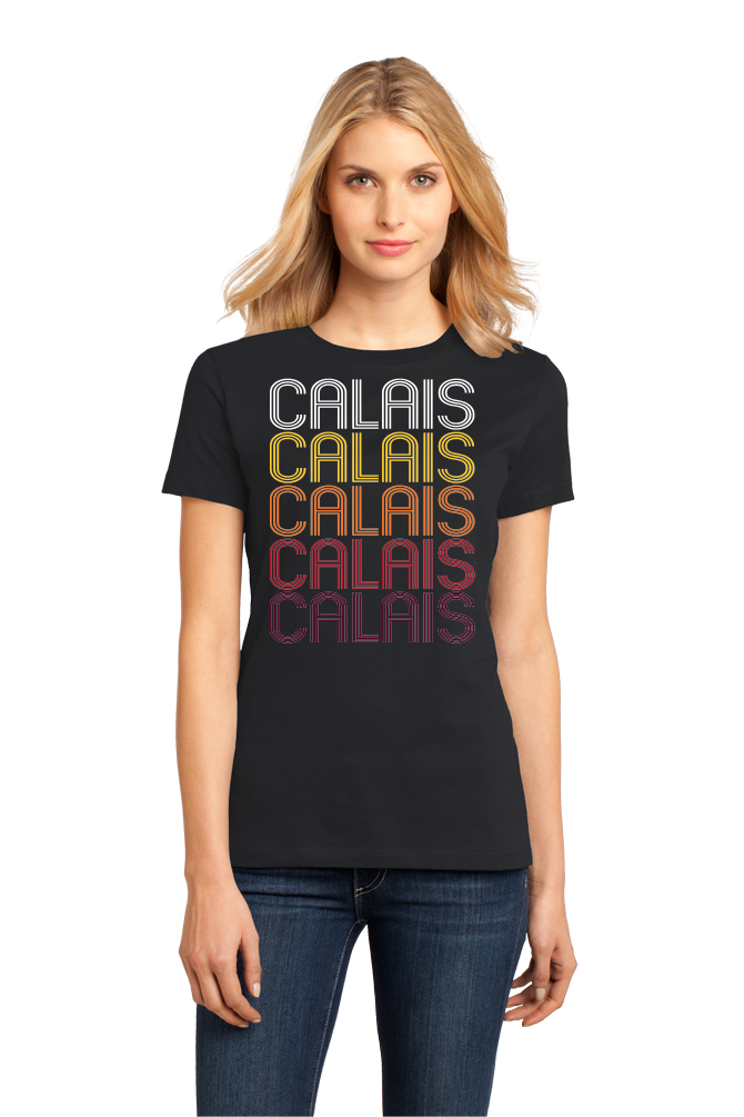 Ladies Black Calais, ME | Retro, Vintage Style Maine Pride  T-shirt