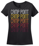 Ladies Black Camp Point, IL | Retro, Vintage Style Illinois Pride  T-shirt