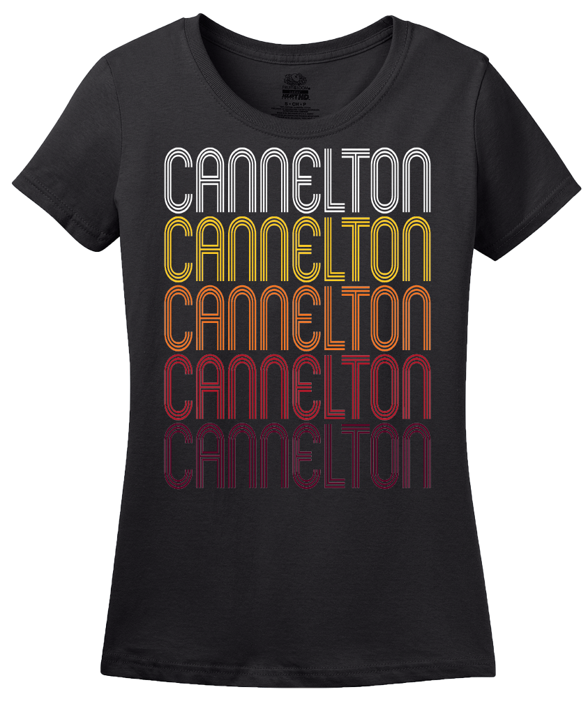 Ladies Black Cannelton, IN | Retro, Vintage Style Indiana Pride  T-shirt