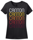 Ladies Black Canton, PA | Retro, Vintage Style Pennsylvania Pride  T-shirt