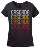 Ladies Black Cascade, IA | Retro, Vintage Style Iowa Pride  T-shirt