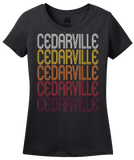 Ladies Black Cedarville, OH | Retro, Vintage Style Ohio Pride  T-shirt