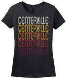 Ladies Black Centerville, IN | Retro, Vintage Style Indiana Pride  T-shirt