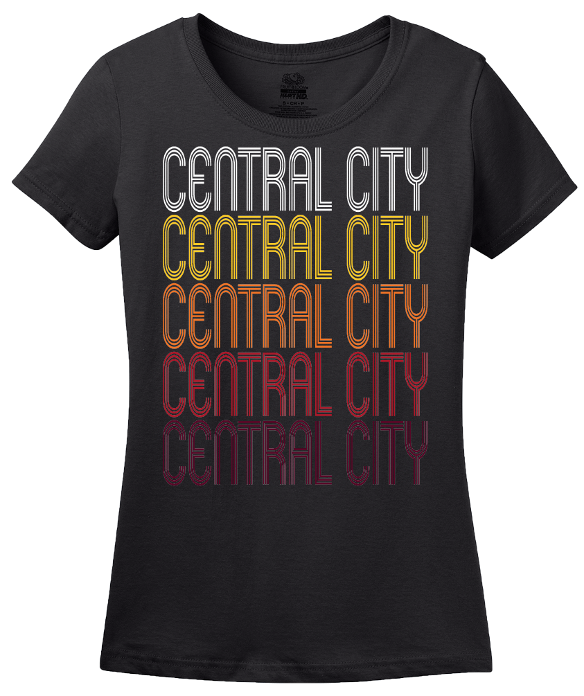Ladies Black Central City, NE | Retro, Vintage Style Nebraska Pride  T-shirt