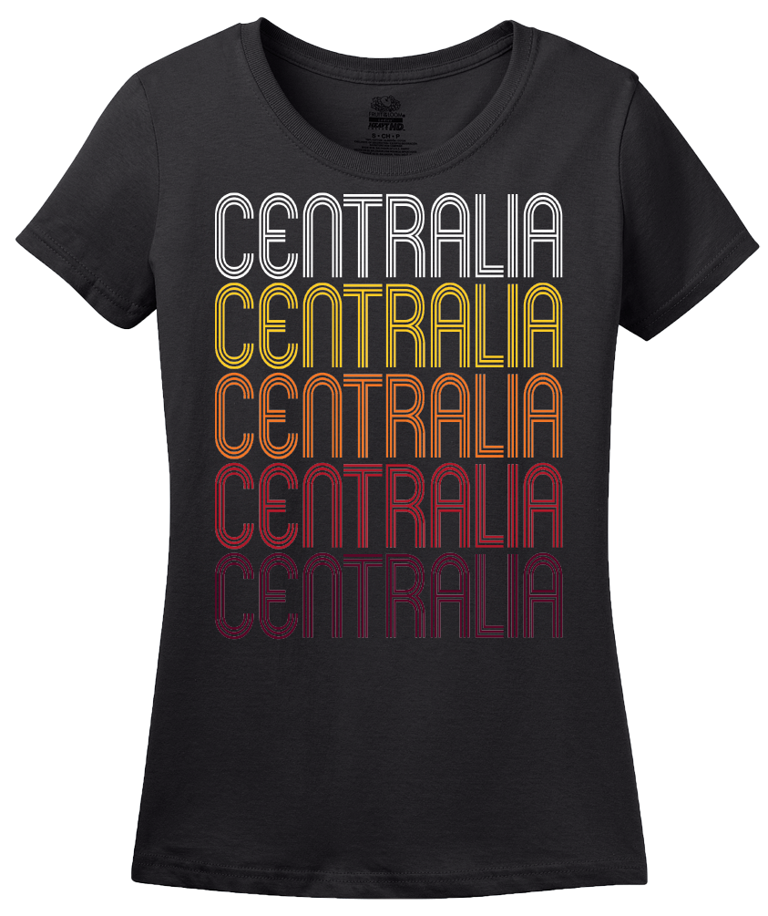 Ladies Black Centralia, IL | Retro, Vintage Style Illinois Pride  T-shirt