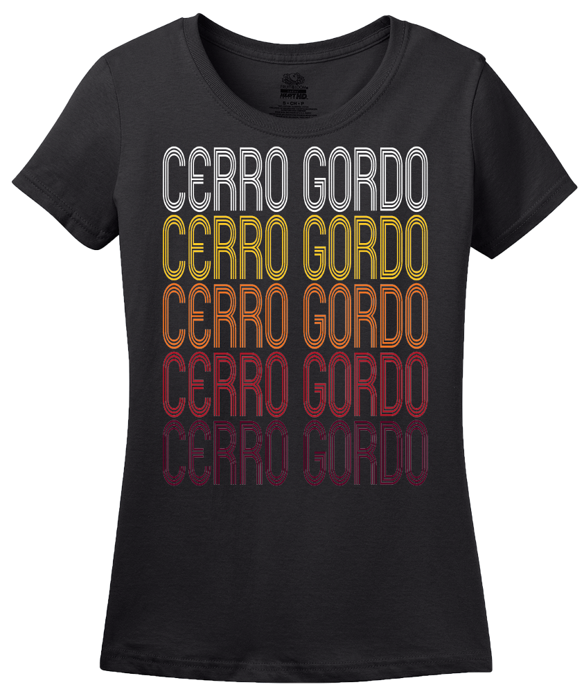 Ladies Black Cerro Gordo, IL | Retro, Vintage Style Illinois Pride  T-shirt