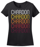 Ladies Black Chardon, OH | Retro, Vintage Style Ohio Pride  T-shirt
