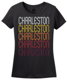 Ladies Black Charleston, AR | Retro, Vintage Style Arkansas Pride  T-shirt