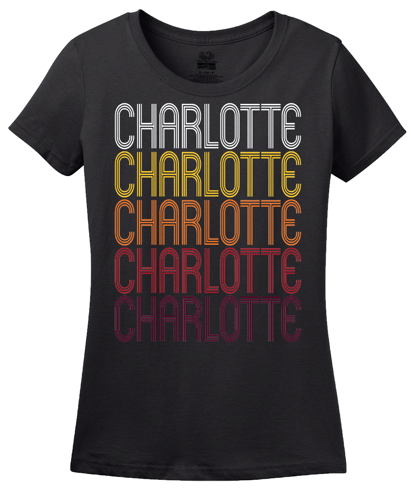 Ladies Black Charlotte, TX | Retro, Vintage Style Texas Pride  T-shirt