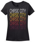 Ladies Black Chase City, VA | Retro, Vintage Style Virginia Pride  T-shirt