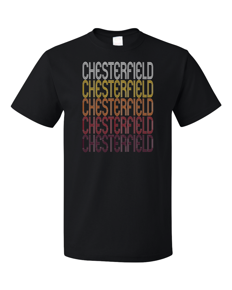 Standard Black Chesterfield, SC | Retro, Vintage Style South Carolina Pride  T-shirt