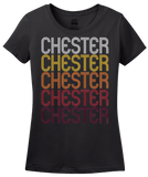 Ladies Black Chester, IL | Retro, Vintage Style Illinois Pride  T-shirt