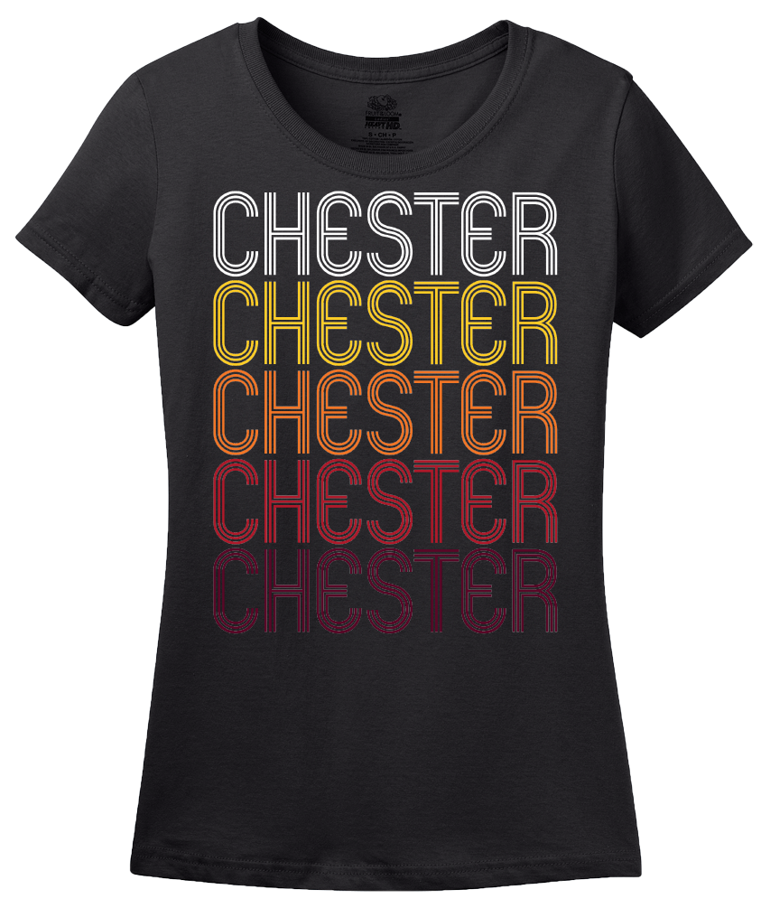 Ladies Black Chester, NY | Retro, Vintage Style New York Pride  T-shirt