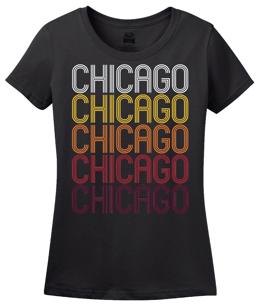 Ladies Black Chicago, IL | Retro, Vintage Style Illinois Pride  T-shirt
