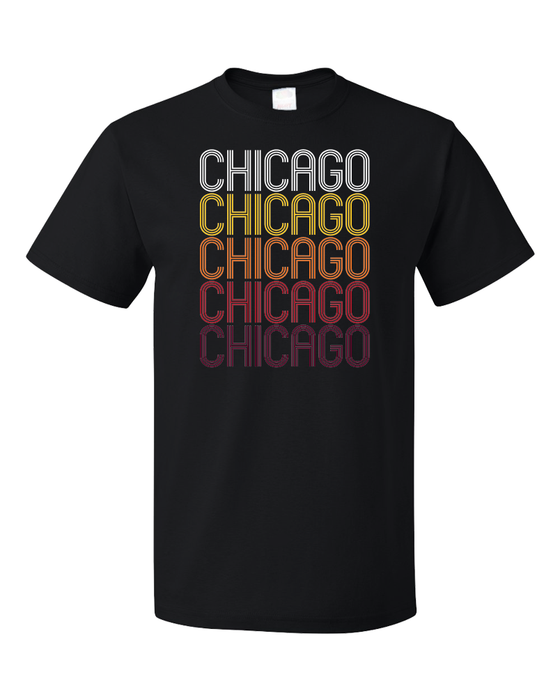 Standard Black Chicago, IL | Retro, Vintage Style Illinois Pride  T-shirt