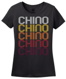 Ladies Black Chino, CA | Retro, Vintage Style California Pride  T-shirt