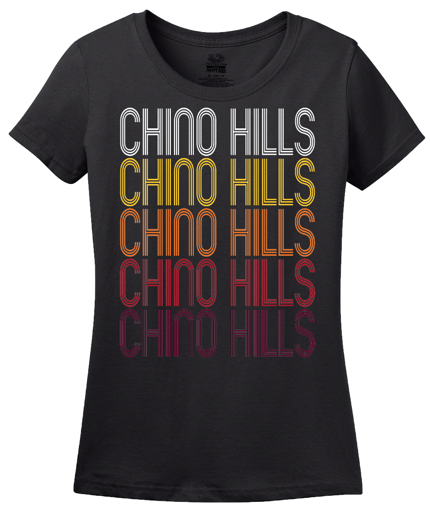 Ladies Black Chino Hills, CA | Retro, Vintage Style California Pride  T-shirt