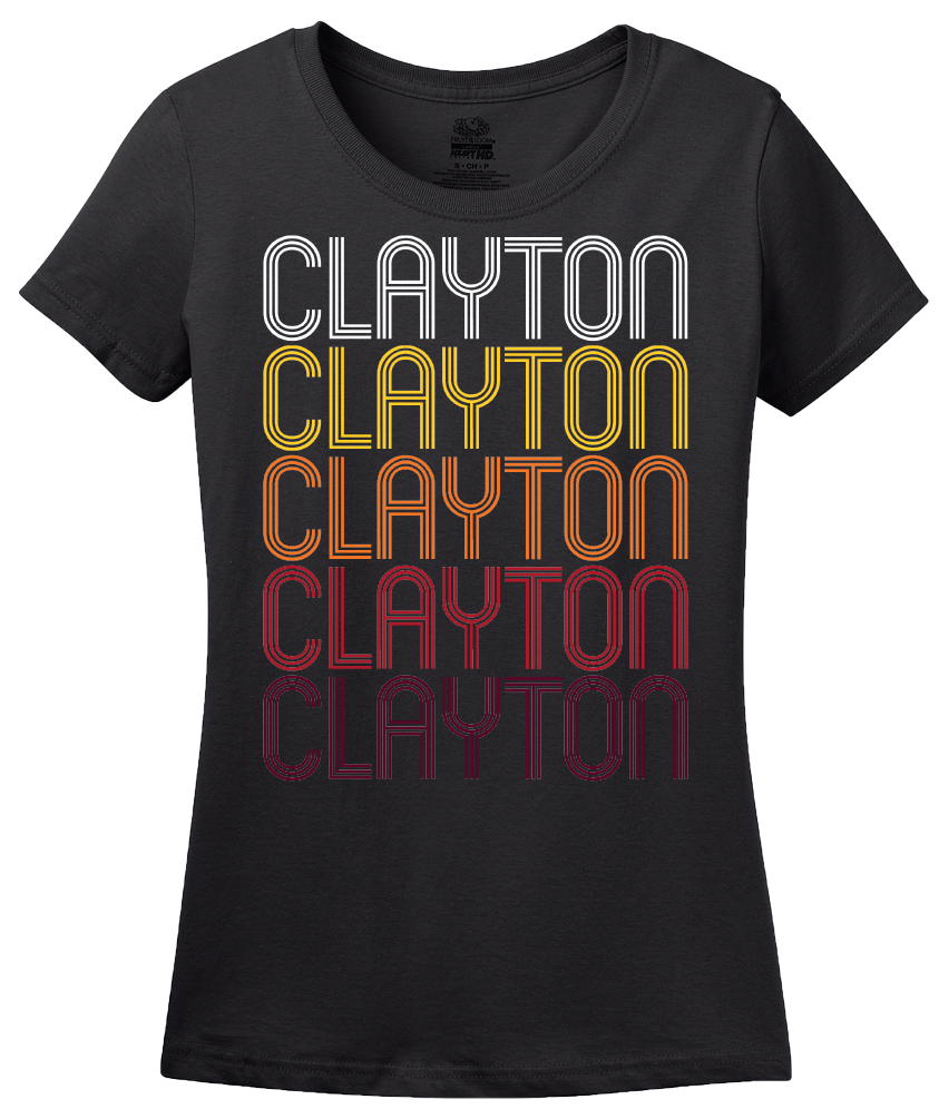 Ladies Black Clayton, NC | Retro, Vintage Style North Carolina Pride  T-shirt
