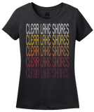 Ladies Black Clear Lake Shores, TX | Retro, Vintage Style Texas Pride  T-shirt