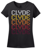 Ladies Black Clyde, OH | Retro, Vintage Style Ohio Pride  T-shirt