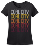 Ladies Black Coal City, IL | Retro, Vintage Style Illinois Pride  T-shirt