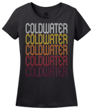 Ladies Black Coldwater, MS | Retro, Vintage Style Mississippi Pride  T-shirt