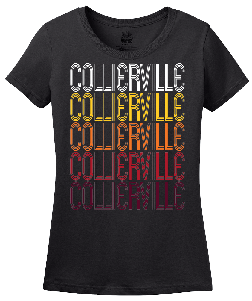 Ladies Black Collierville, TN | Retro, Vintage Style Tennessee Pride  T-shirt