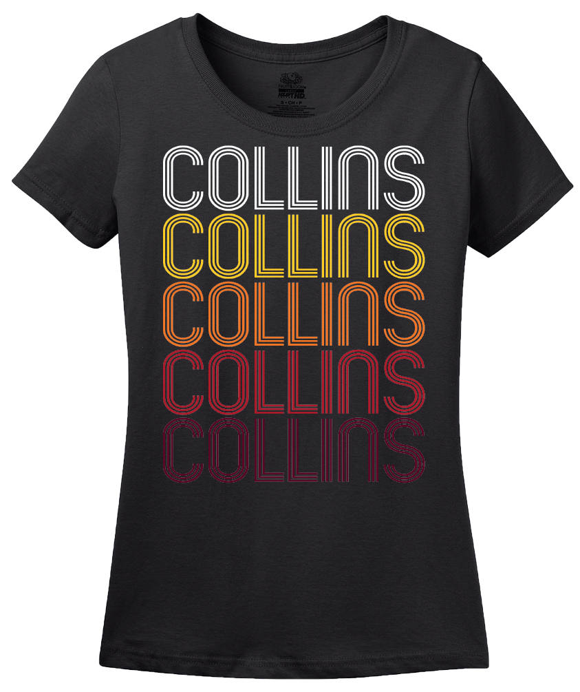 Ladies Black Collins, MS | Retro, Vintage Style Mississippi Pride  T-shirt