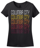 Ladies Black Columbia City, IN | Retro, Vintage Style Indiana Pride  T-shirt