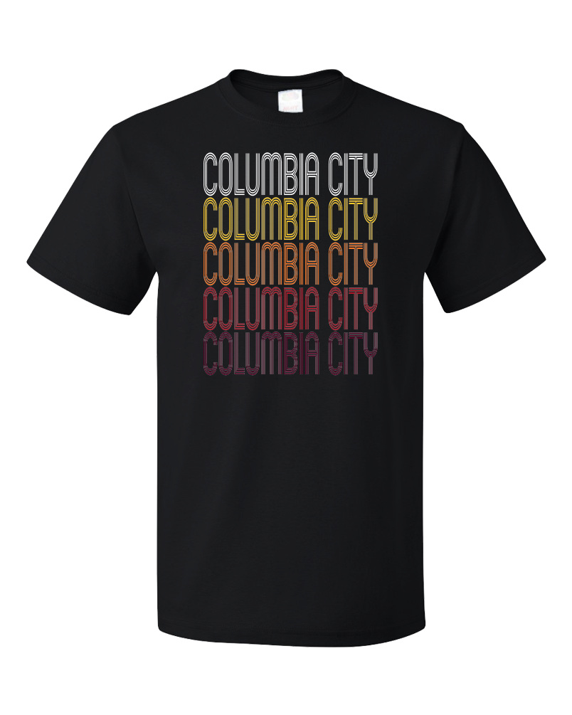 Standard Black Columbia City, IN | Retro, Vintage Style Indiana Pride  T-shirt