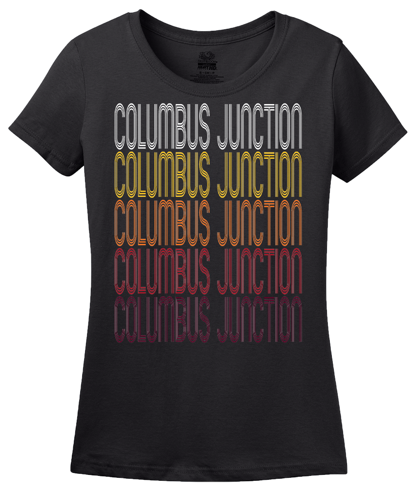 Ladies Black Columbus Junction, IA | Retro, Vintage Style Iowa Pride  T-shirt