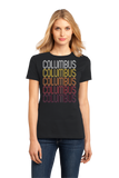 Ladies Black Columbus, MS | Retro, Vintage Style Mississippi Pride  T-shirt