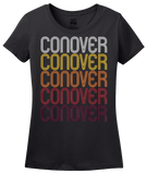 Ladies Black Conover, NC | Retro, Vintage Style North Carolina Pride  T-shirt