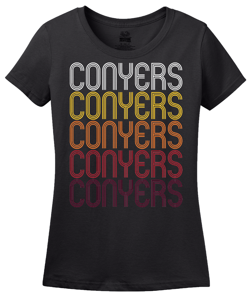 Ladies Black Conyers, GA | Retro, Vintage Style Georgia Pride  T-shirt