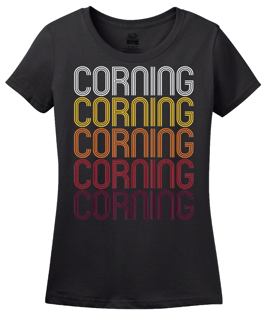 Ladies Black Corning, CA | Retro, Vintage Style California Pride  T-shirt
