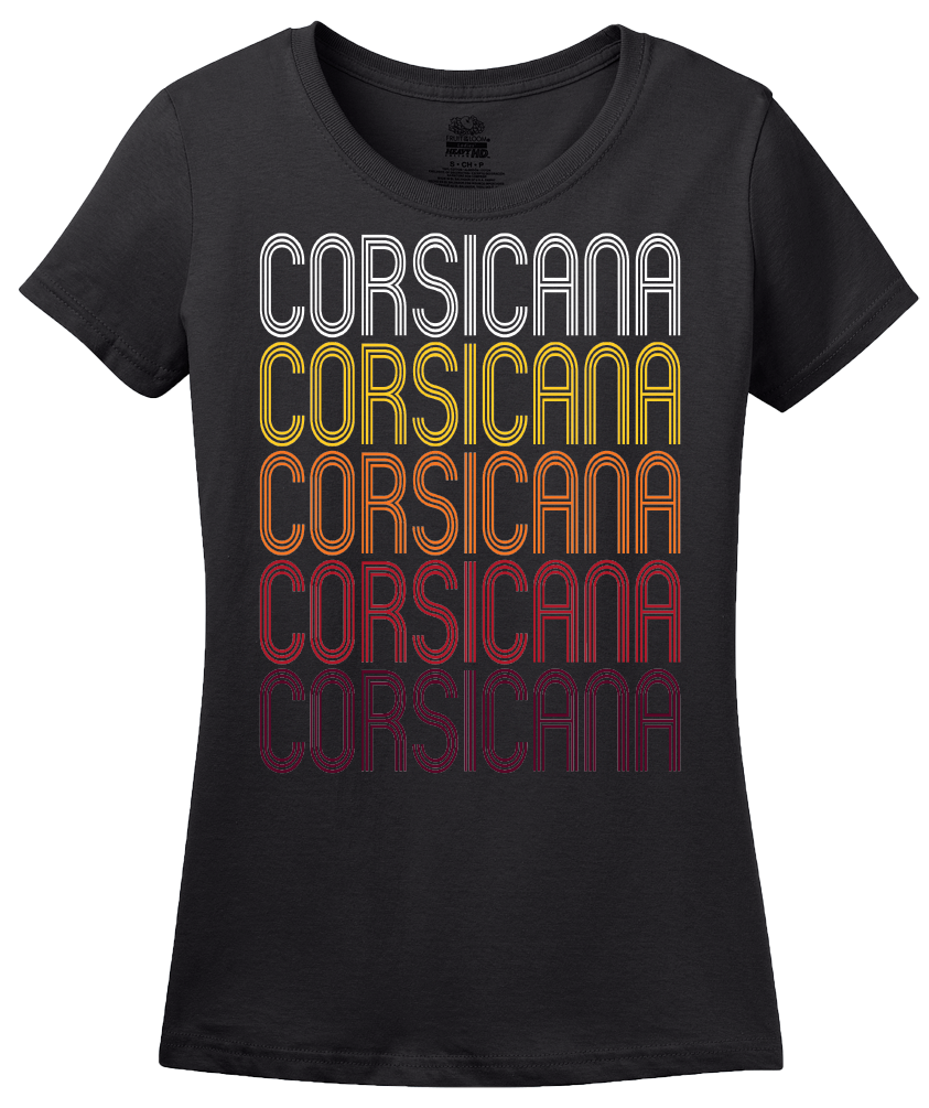 Ladies Black Corsicana, TX | Retro, Vintage Style Texas Pride  T-shirt