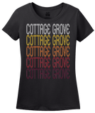 Ladies Black Cottage Grove, MN | Retro, Vintage Style Minnesota Pride  T-shirt