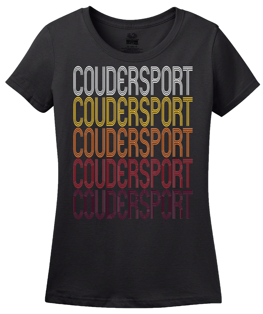Ladies Black Coudersport, PA | Retro, Vintage Style Pennsylvania Pride  T-shirt