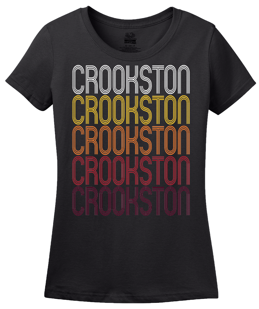 Ladies Black Crookston, MN | Retro, Vintage Style Minnesota Pride  T-shirt