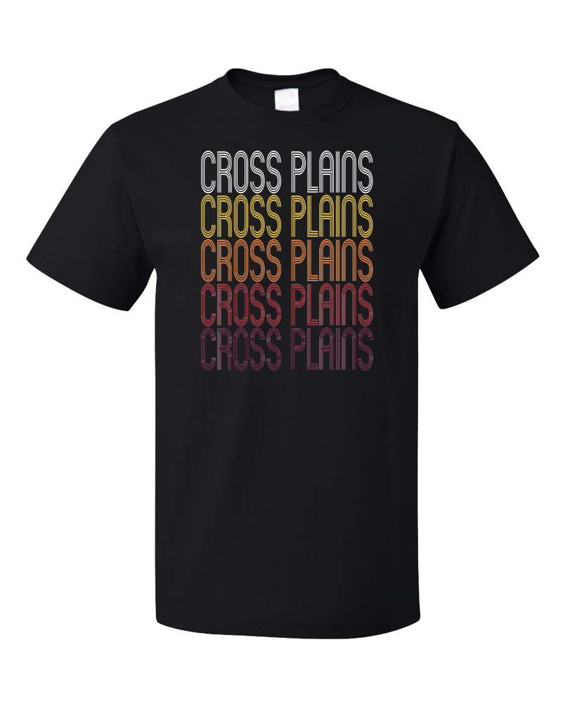 Standard Black Cross Plains, WI | Retro, Vintage Style Wisconsin Pride  T-shirt