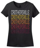 Ladies Black Crothersville, IN | Retro, Vintage Style Indiana Pride  T-shirt