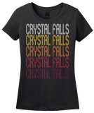 Ladies Black Crystal Falls, MI | Retro, Vintage Style Michigan Pride  T-shirt