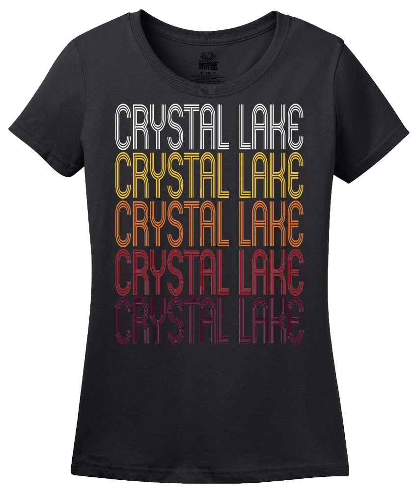 Ladies Black Crystal Lake, IL | Retro, Vintage Style Illinois Pride  T-shirt