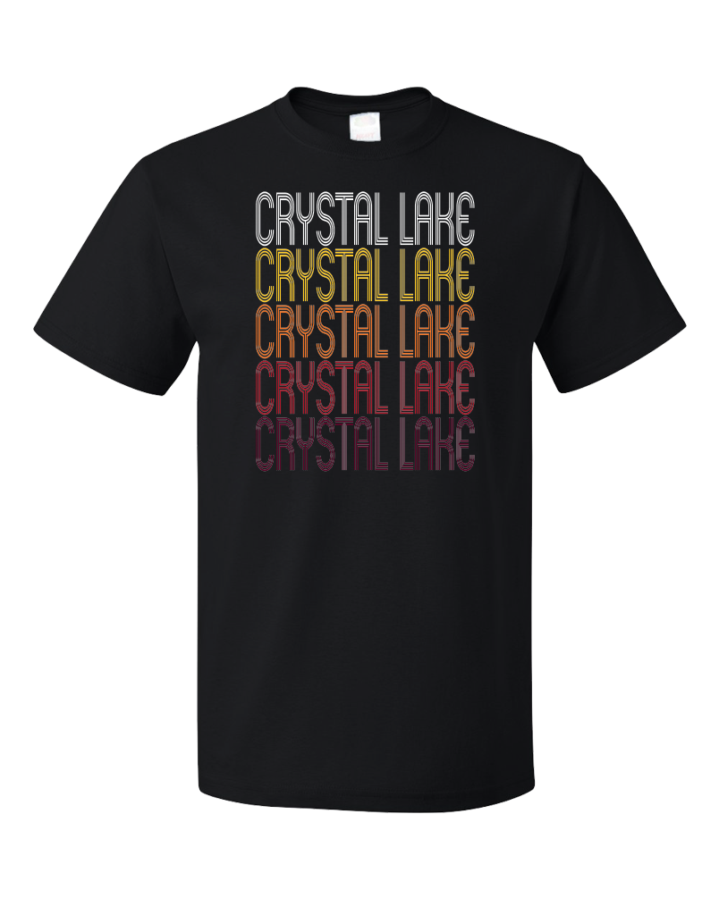 Standard Black Crystal Lake, IL | Retro, Vintage Style Illinois Pride  T-shirt