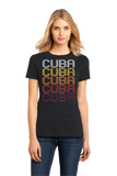 Ladies Black Cuba, NY | Retro, Vintage Style New York Pride  T-shirt