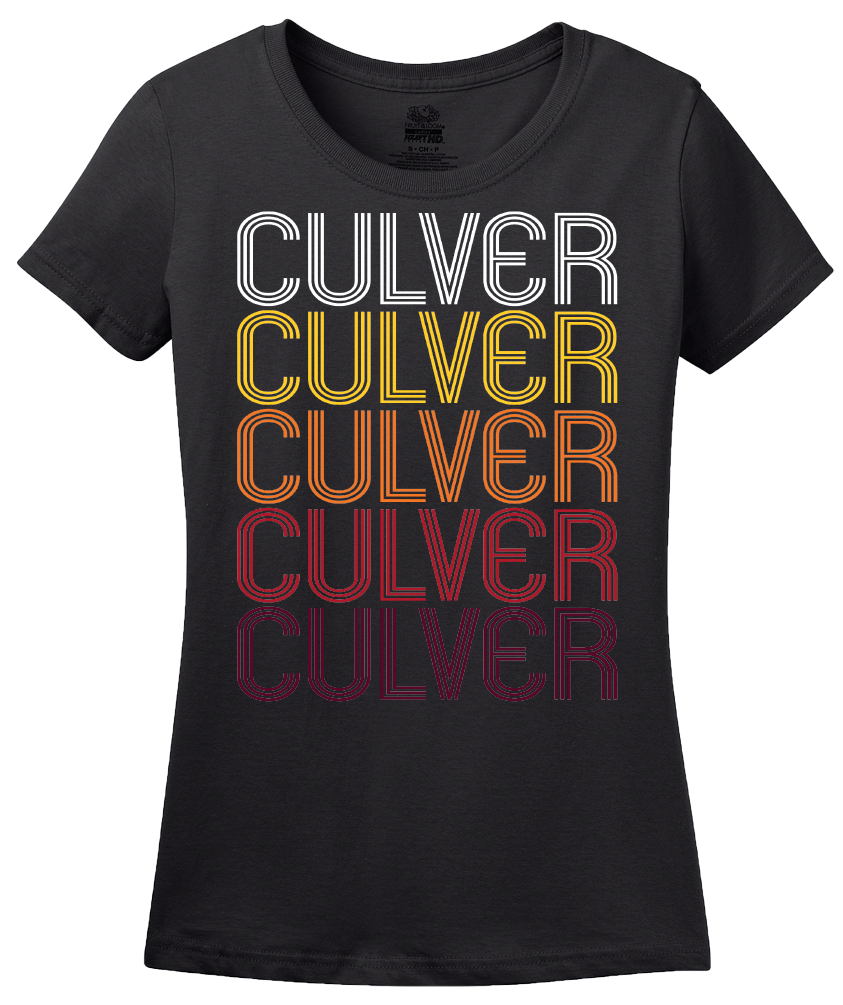 Ladies Black Culver, IN | Retro, Vintage Style Indiana Pride  T-shirt