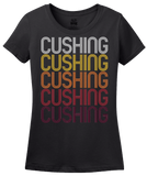 Ladies Black Cushing, OK | Retro, Vintage Style Oklahoma Pride  T-shirt