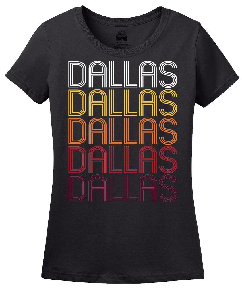 Ladies Black Dallas, TX | Retro, Vintage Style Texas Pride  T-shirt